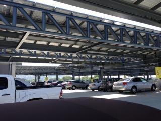 Solar panels on the parking structure roof